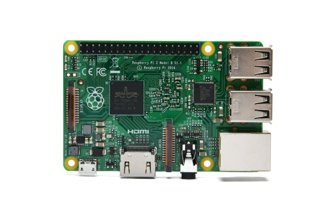 A product image for Raspberry Pi 2 Modell B
