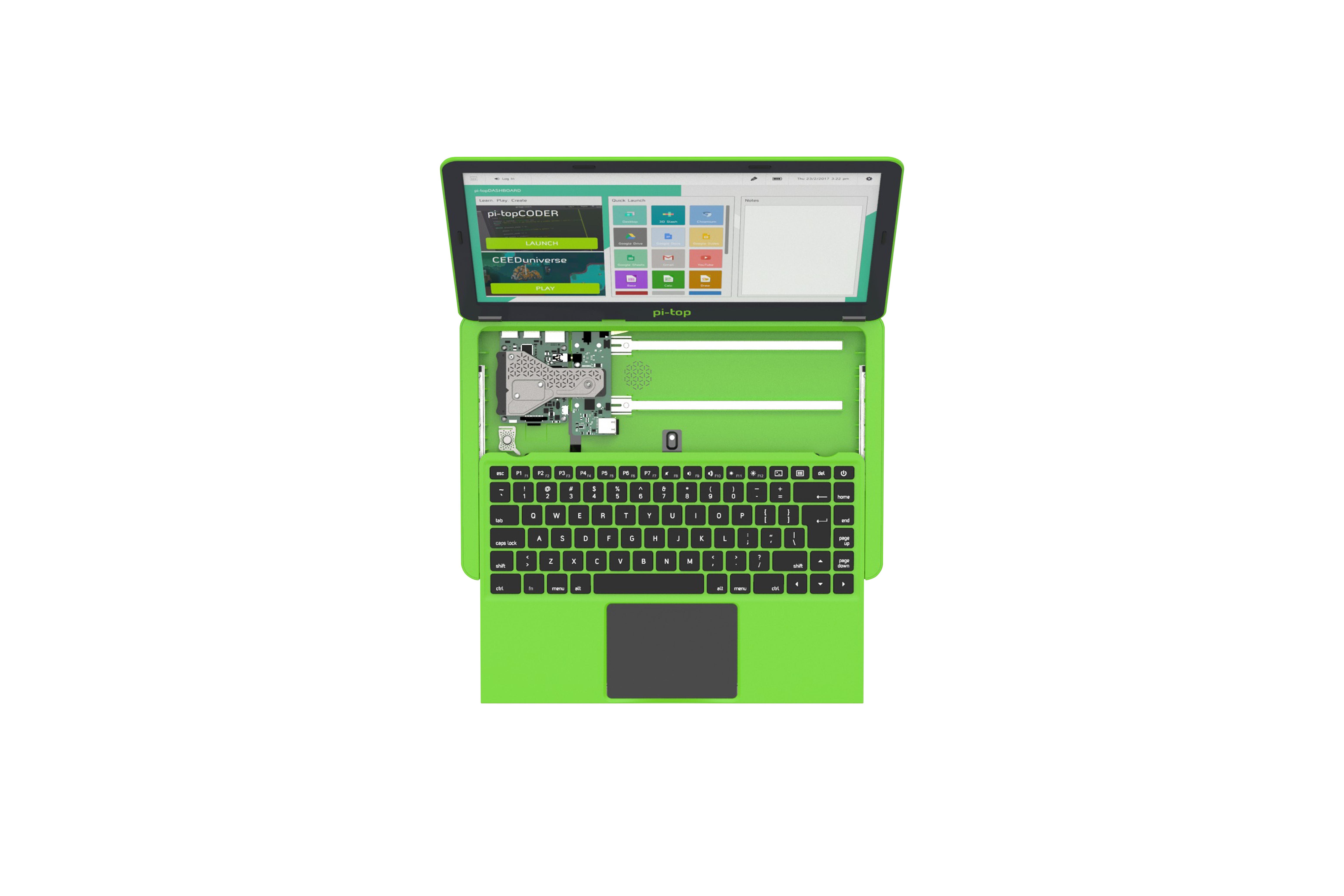 UK-Tastatur und Netzteil für Pi-Top - grün