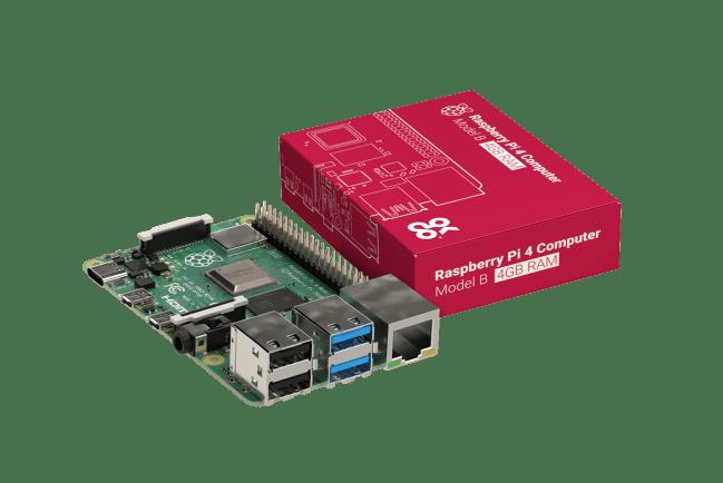 A product image for Raspberry Pi 4 Model B Board mit 4GB LPDDR4 SDRAM