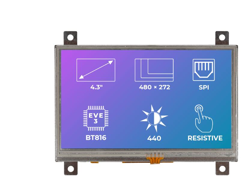 Riverdi Ritft-43-Res-Fr, 4.3 Inches Tft Display