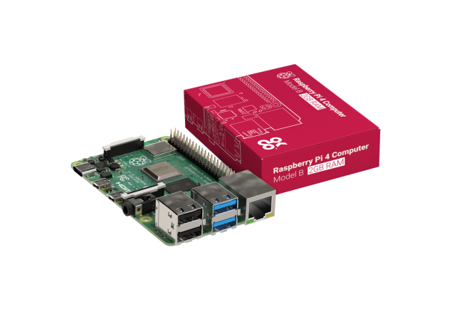A product image for Raspberry Pi 4 Model B Board mit 2GB LPDDR4 SDRAM