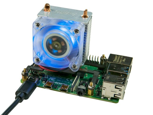 A product image for ICE-Tower CPU Cooling Fan with RGB LED for Raspberry Pi 4B/3B+/3B