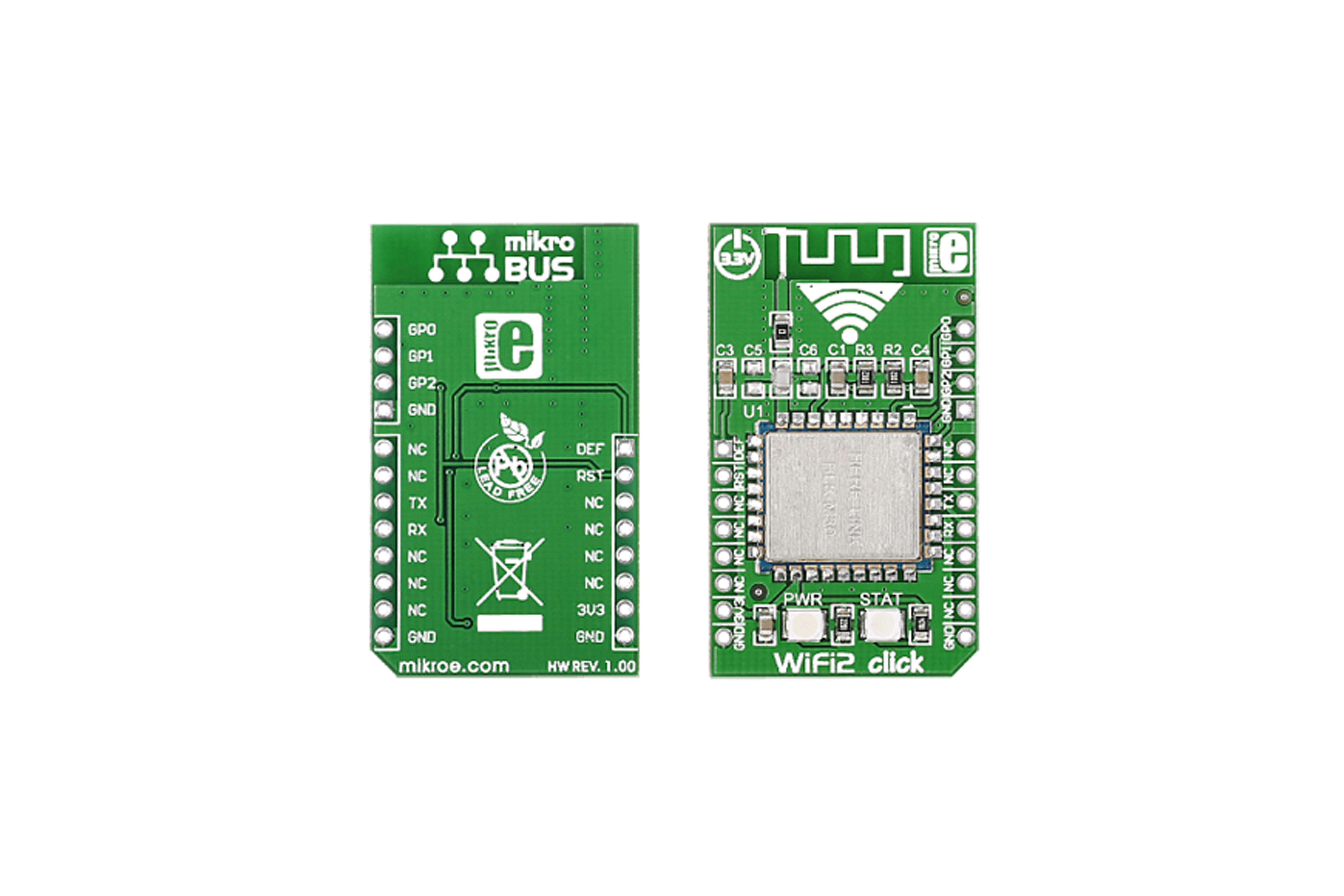 Mikrobus, carte à clicMikroElektronika Wi-Fi2 pour HLK-M30