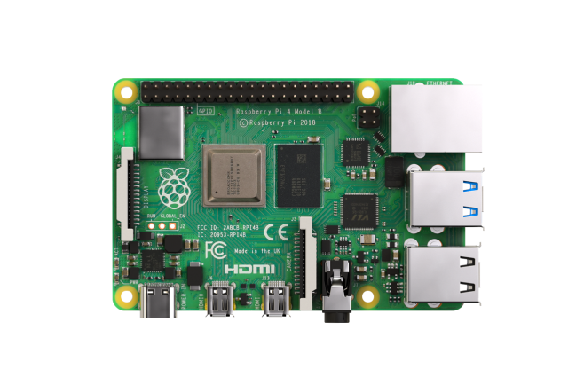 A product image for Carte mère Raspberry Pi 4 avec 4GB de SDRAM LPDDR4