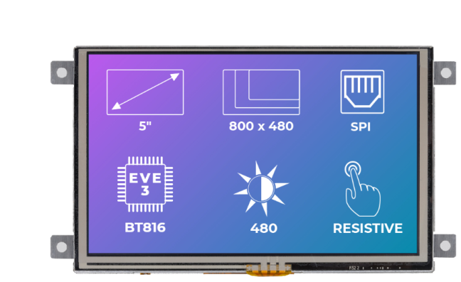 A product image for Riverdi Ritft-50-Res-Fr, 5 Inches Tft Display