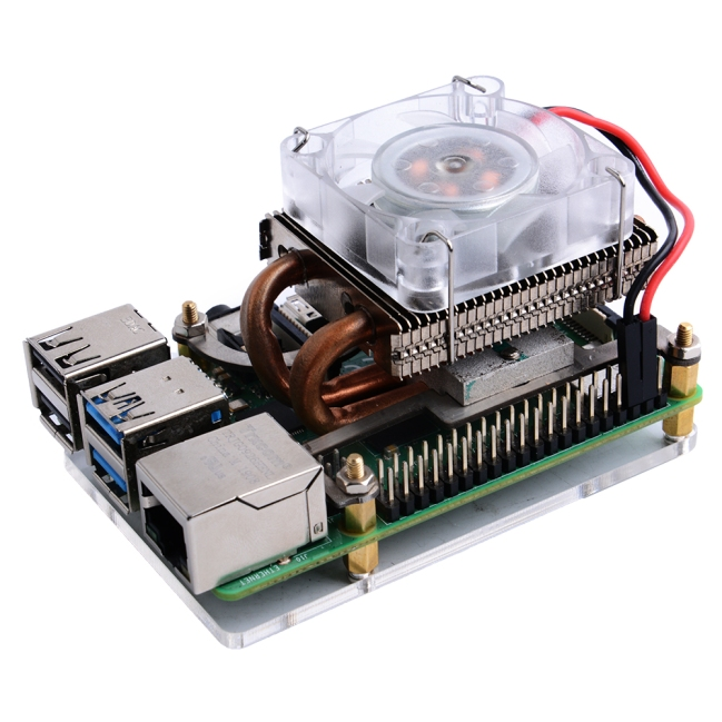 A product image for ICE-Tower Low Profile CPU Cooling Fan with RGB LED for Raspberry Pi 4B/3B+/3B