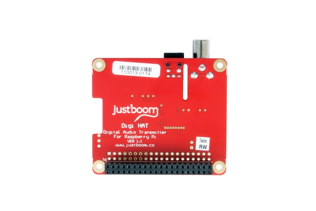 A product image for JustBoom Digi HAT per Raspberry Pi