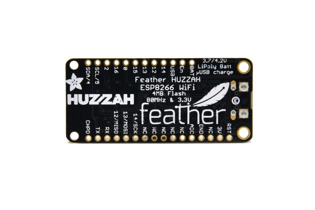 A product image for Adafruit Feather HUZZAH con ESP8266 WiFi
