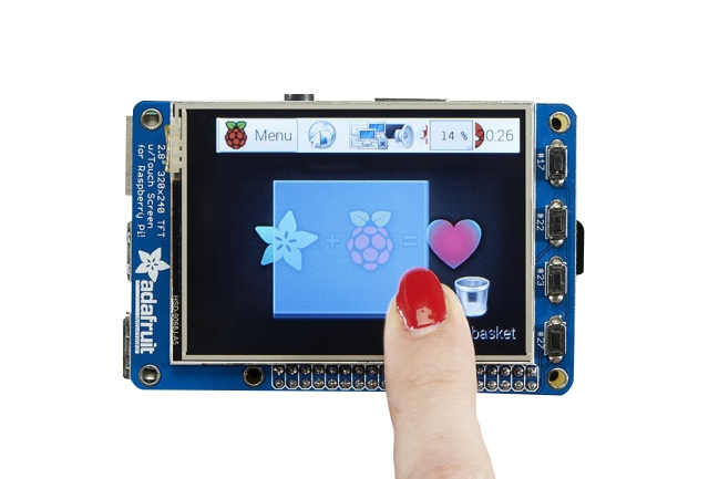A product image for PiTFT Plus Display touchscreen TFT da 2,8″