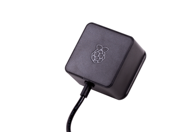 A product image for Alim. originale nero Raspberry Pi 5,1V/3A con USB-C per UK