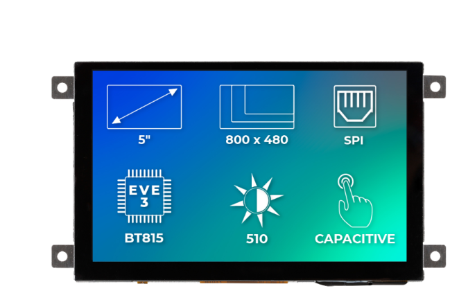 A product image for Riverdi Ritft-50-Cap-Fr, 5 Inches Tft Display
