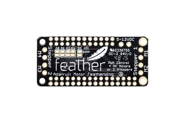 A product image for FeatherWing DC/ステッピングモーターアドオンボード