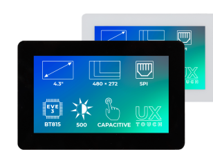 Riverdi Ritft-43-Cap-Ux, 4.3 Inches Tft Display - Black