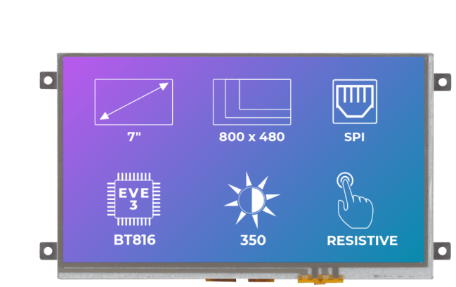 A product image for Riverdi Ritft-70-Res-Fr, 7 Inches Tft Display