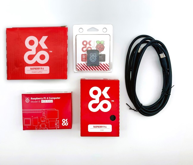 A product image for Raspberry Pi 4 4GB Essential Starter Kit with Universal Power Supply