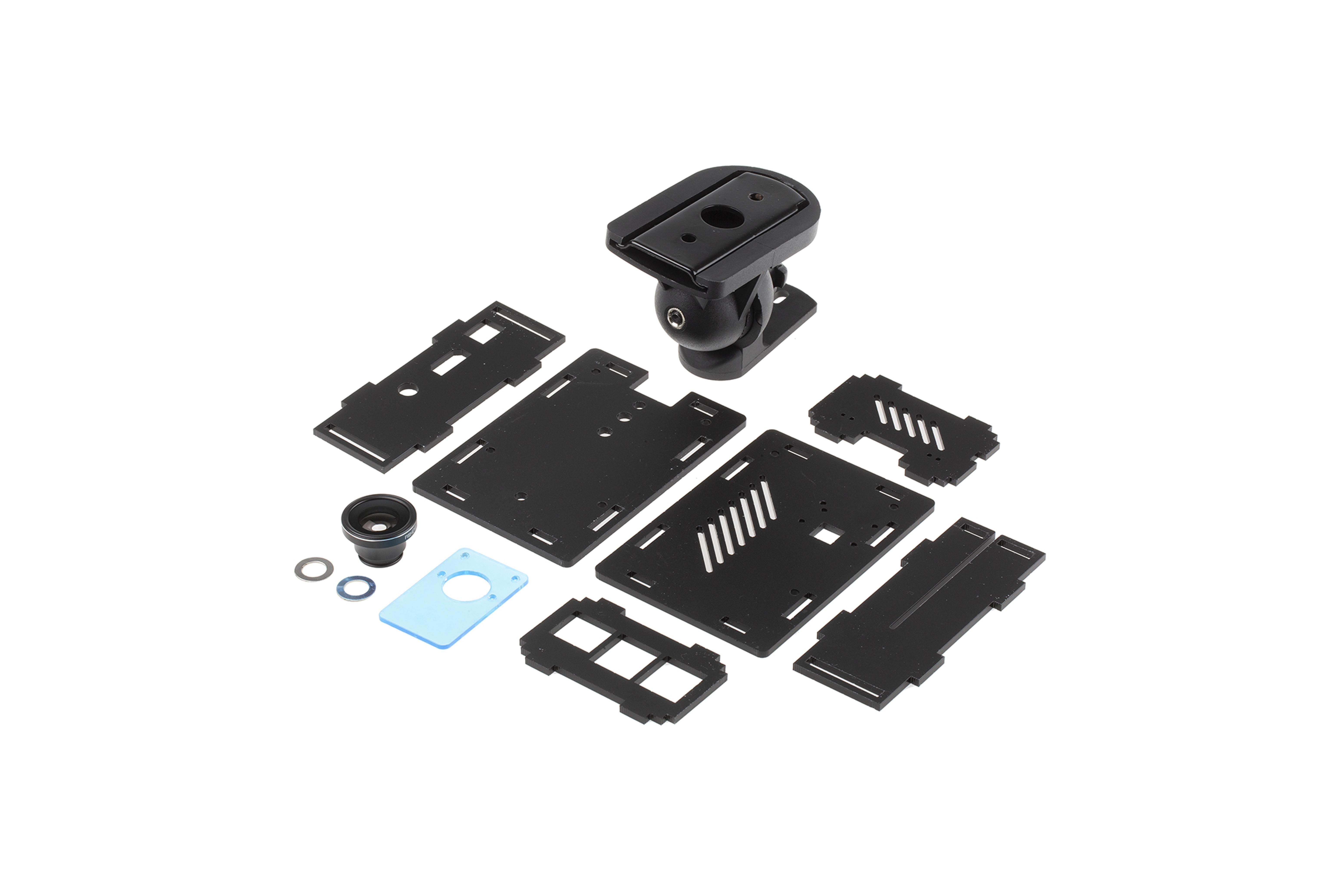 RaspberryPi-camerabehuizing met set voor montage aan de muu