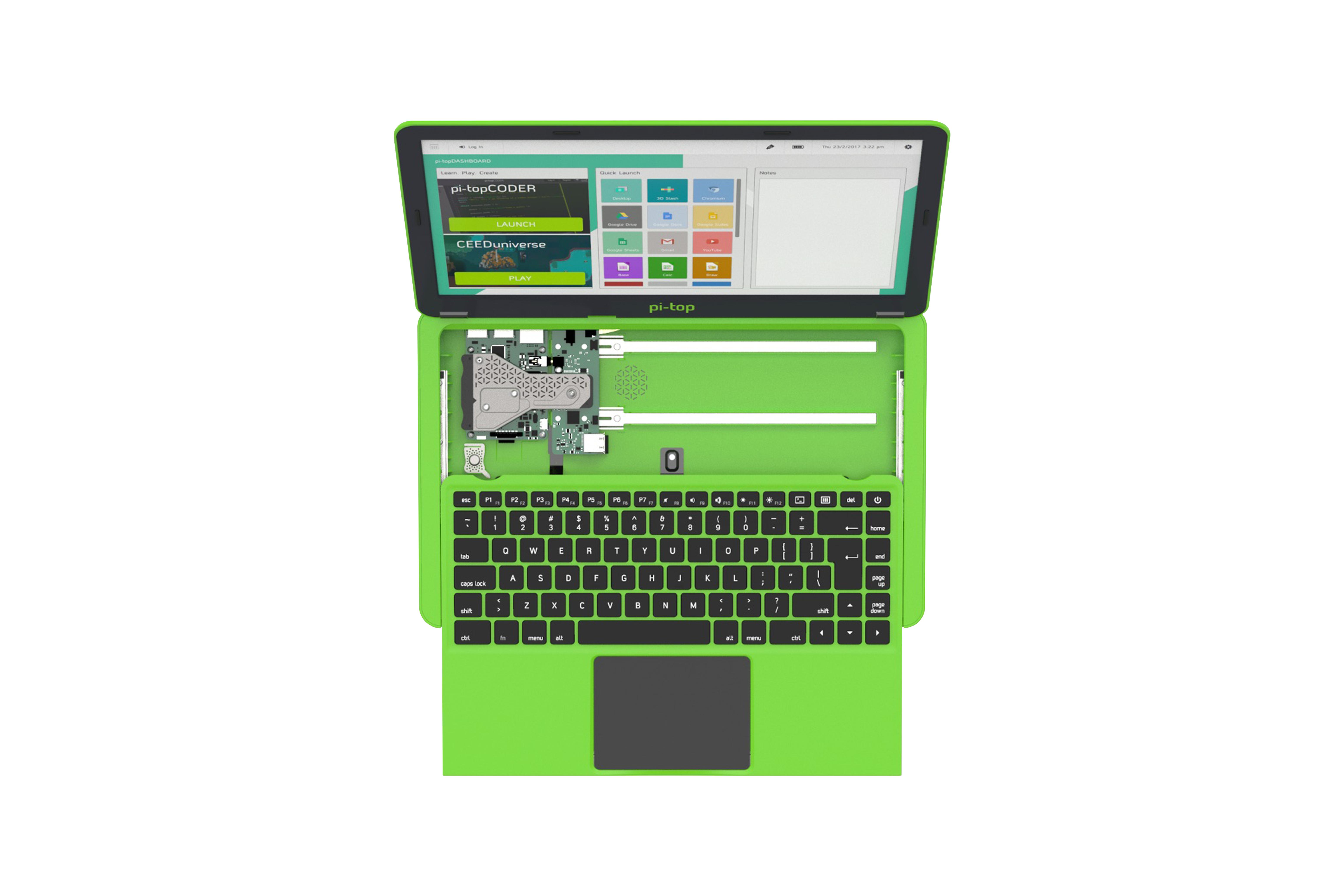 Pi-Top Amerikaans toetsenbord en Amerikaanse voeding - groen