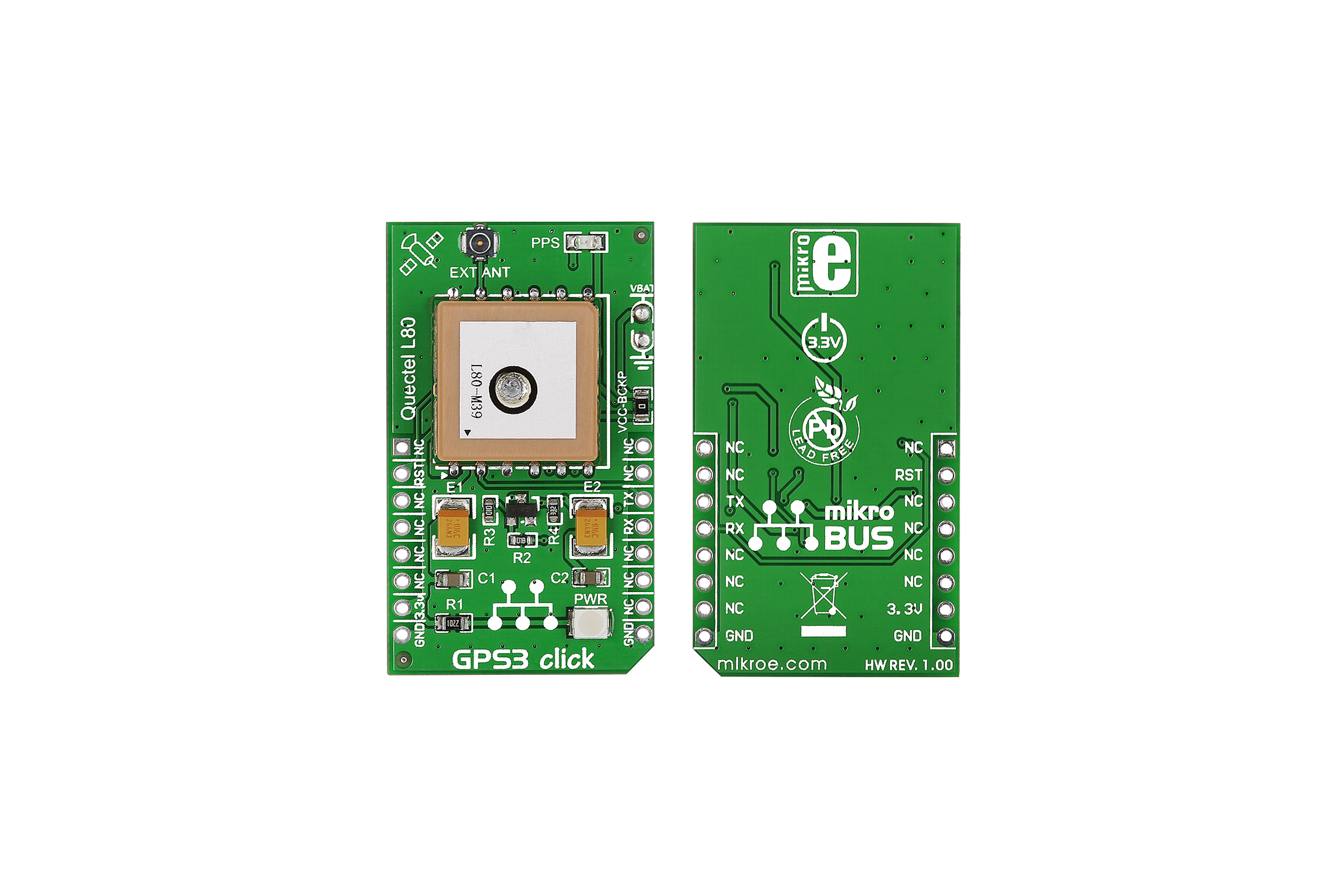 MikroElektronika GPS3 mikroBus Click Board voor L80 GPS