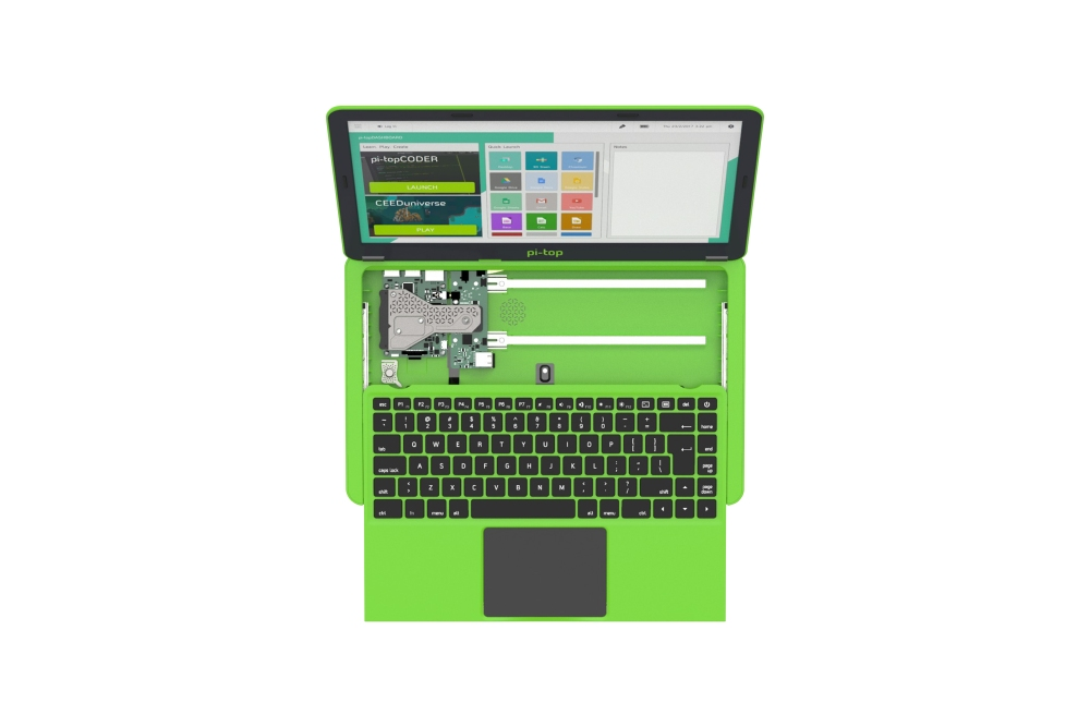 Pi-Top VK-toetsenbord en EU-voeding - groen
