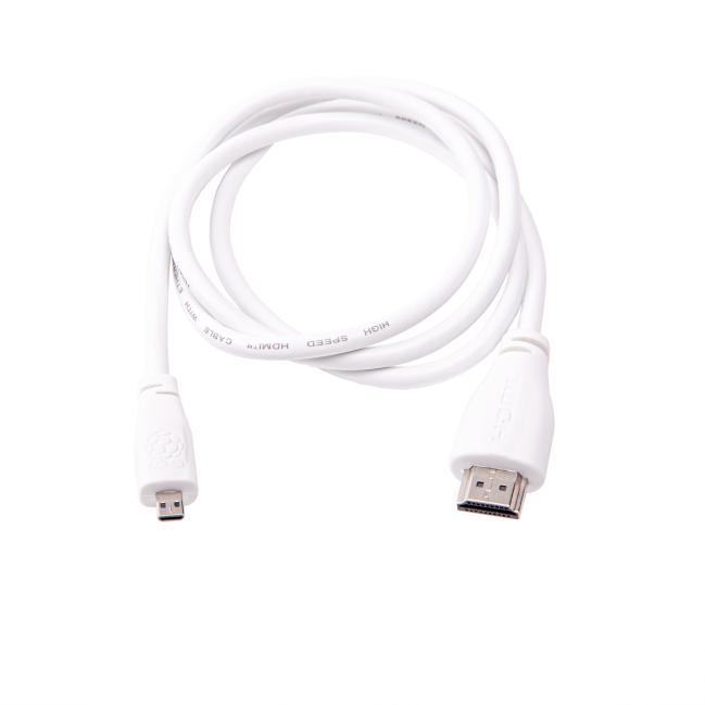 A product image for Officiële 1m witte Raspberry Pi micro-HDMI-naar-M-kabel