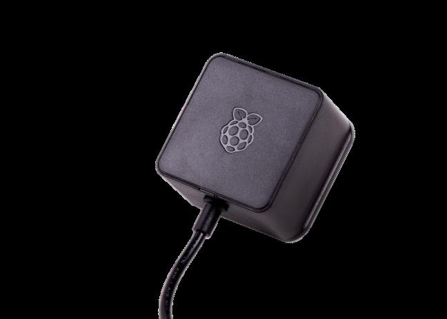 A product image for Officiële zwarte Raspberry Pi 5,1V/3A-voeding USB-C voor VS