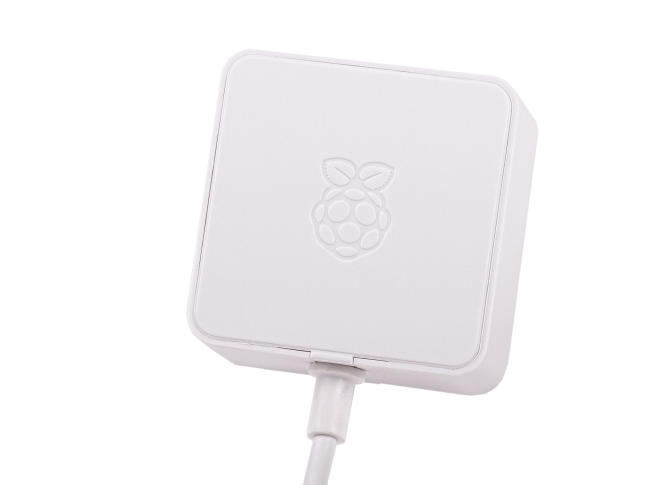 A product image for Officiële witte Raspberry Pi 5,1V/3A-voeding USB-C voor VS