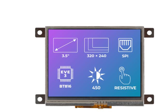 A product image for Riverdi – 3,5 inch TFT-scherm met een resistief aanraakscherm en een metalen montageframe
