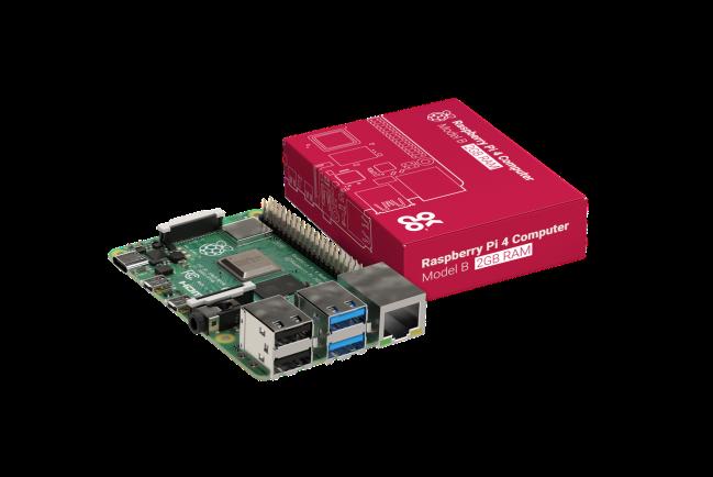 A product image for Raspberry Pi 4 Model B-plaat met 2GB LPDDR4 SDRAM