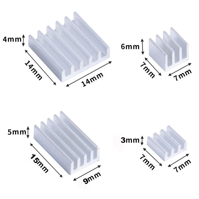 A product image for Aluminum Heat Sink Pack for Raspberry Pi 4B