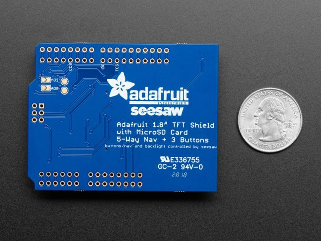 A product image for Adafruit 1.8″ Color Tft Shield W/MicroSD And Joystick – V2 – 802