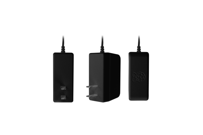 A product image for OFFICIAL Raspberry PI 3 US POWER SUPPLY BLACK