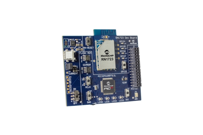 A product image for Microchip RN1723 WiFi IoT Client Development Board