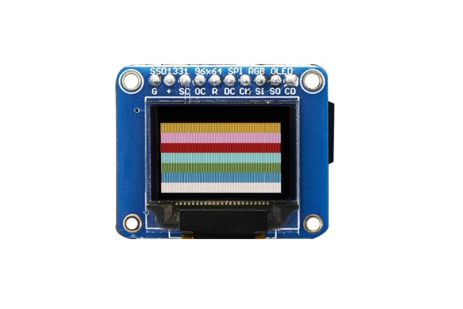 A product image for Adafruit OLED Breakout Board – 16-bit Color 0.96″ w/microSD holder