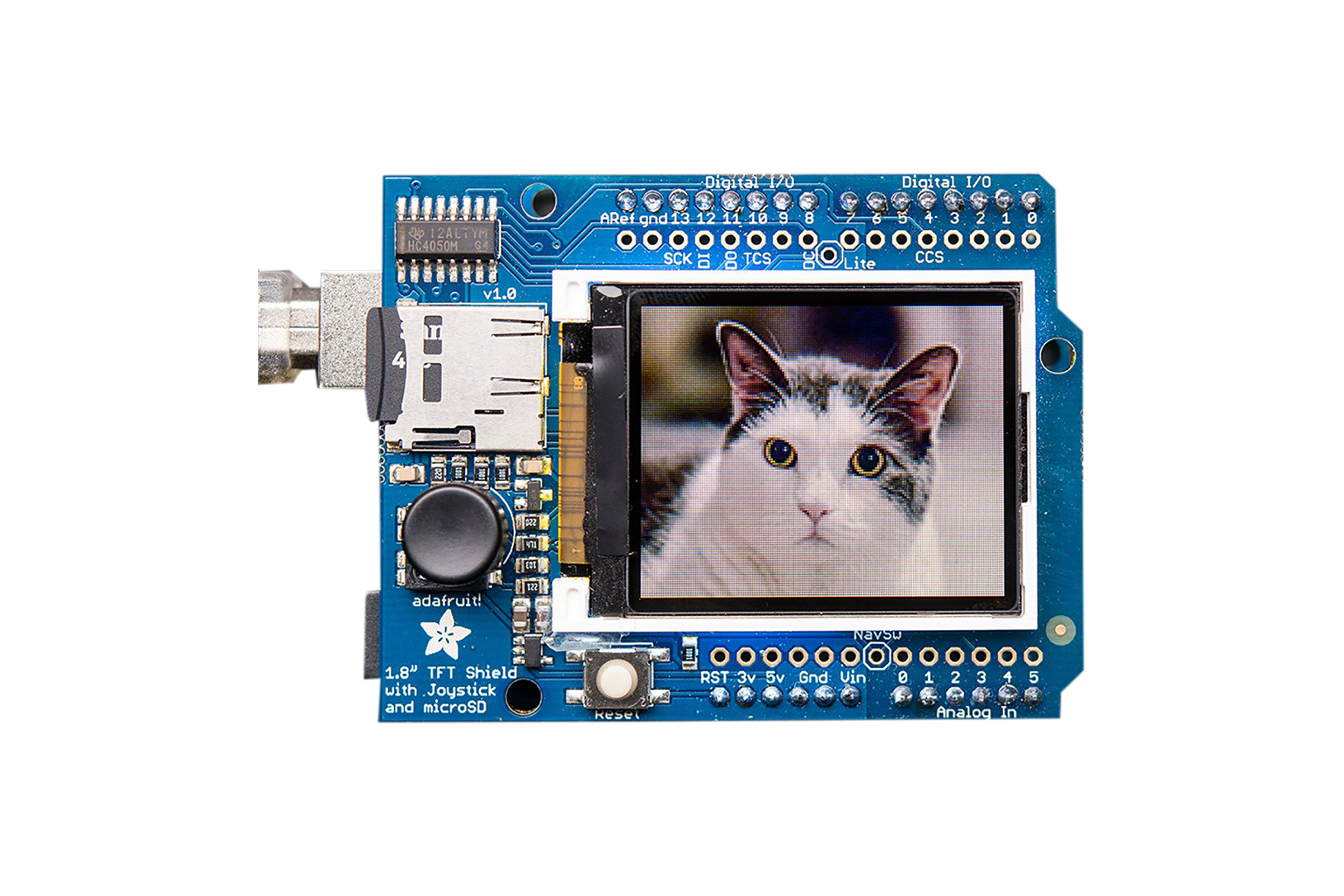 "Adafruit 1.8"" Color Tft Shield W/MicroSD And Joystick - V2 - 802"