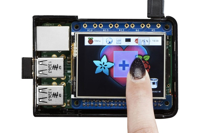 A product image for Adafruit PiTFT 2.4″ HAT Mini Kit – 320×240 TFT Touchscreen