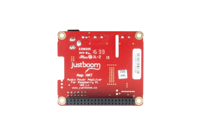 A product image for Justboom Amp HAT For Raspberry Pi