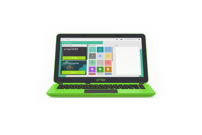 A product image for Pi-Top Raspberry Pi Laptop – German keyboard – Green