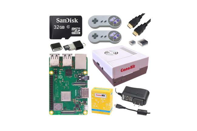 A product image for Raspberry Pi 3 B+ Retro Gaming Kit With 2 Gamepads – 32Gb