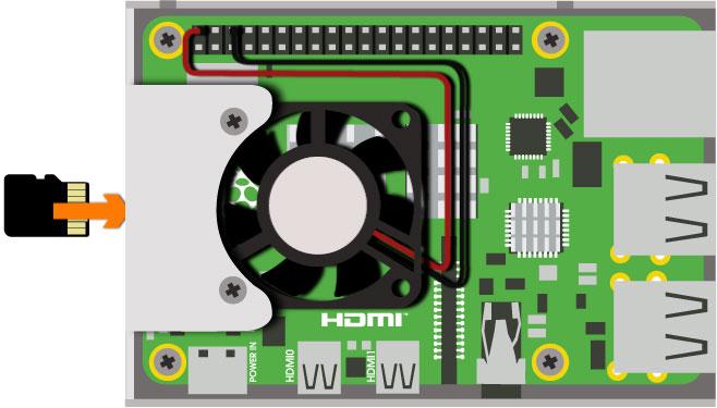8. Insert micro SD card