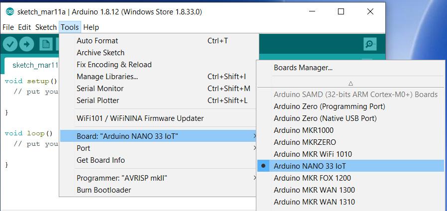 select arduino nano 33 iot