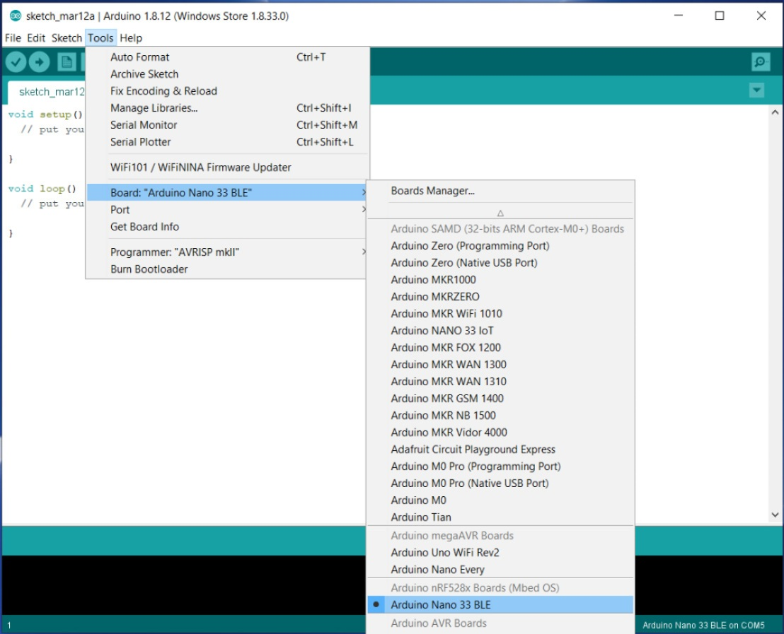 select arduino nano 33 BLE from board menu