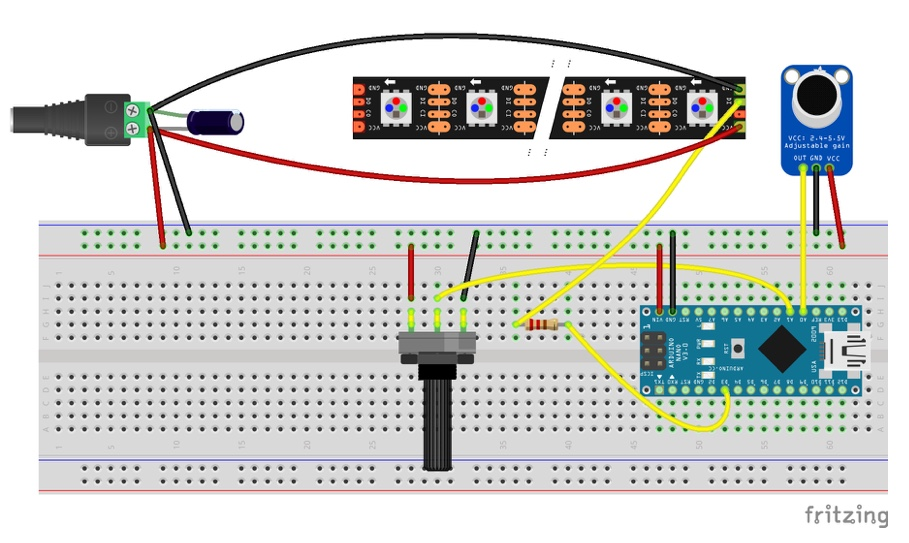 arduino soundreactive led circuit