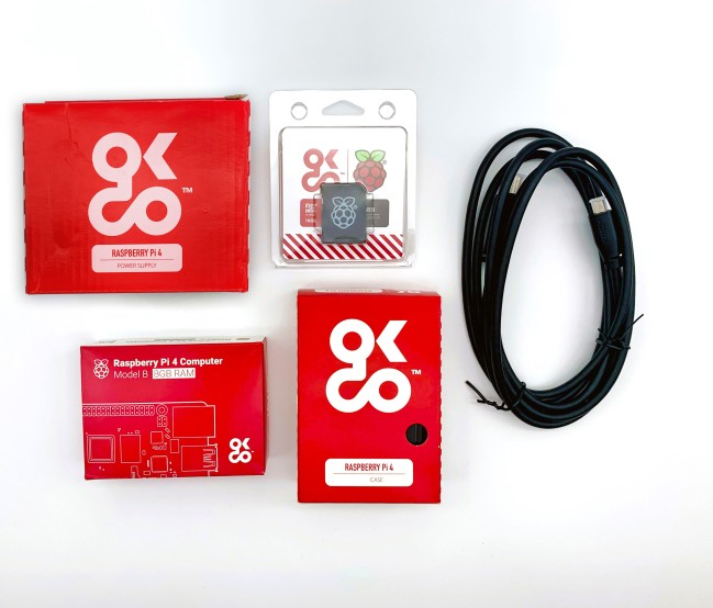 A product image for Raspberry Pi 4 8GB Essential Starter Kit with Universal Power Supply