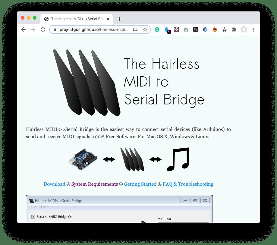 hairless midi to serial bridge