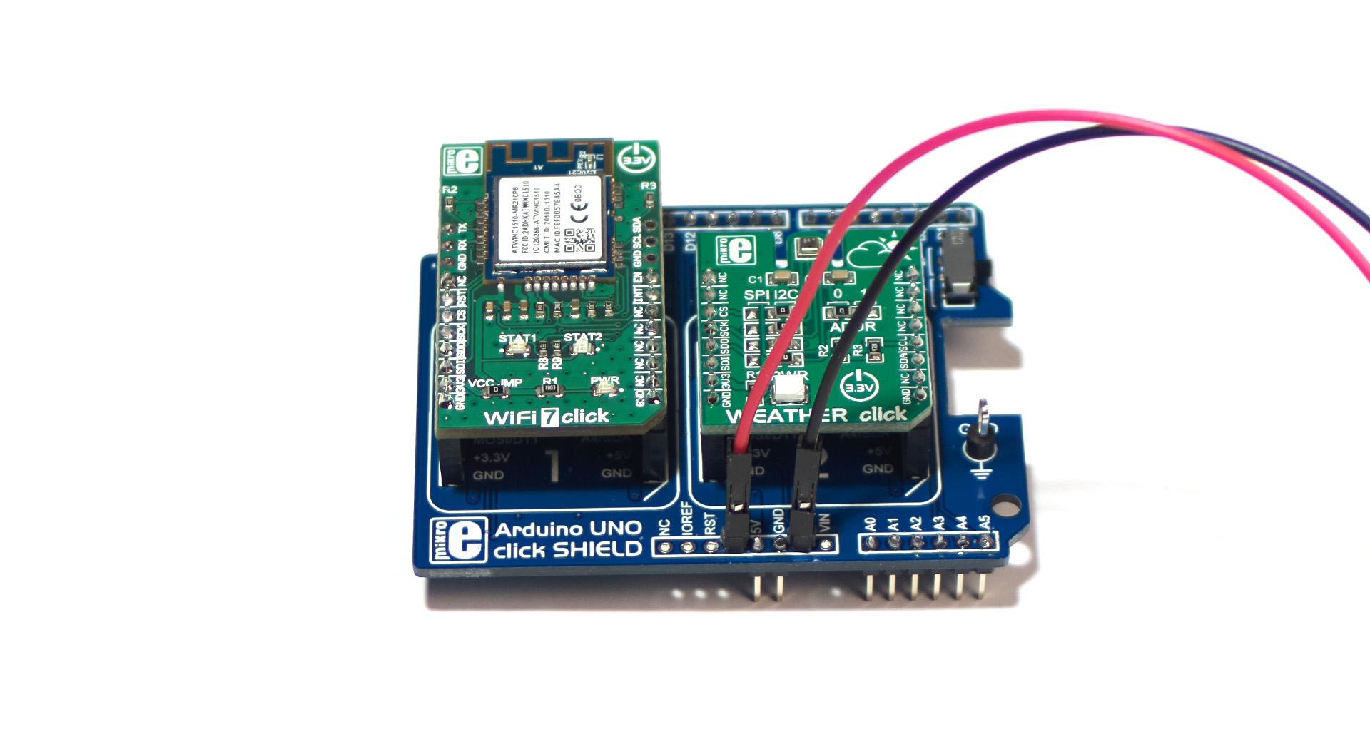 mikroe uno click shield wifi 7 weather click shield