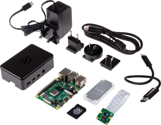 A product image for Raspberry Pi AI Starter Kit with Coral USB Accelerator