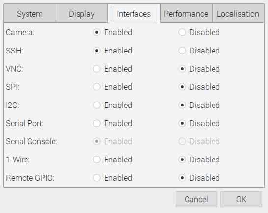 raspberry pi preferences camera-interface