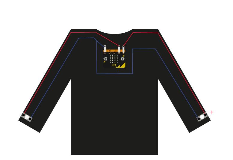 microbit cycle lights t-shirt circuit