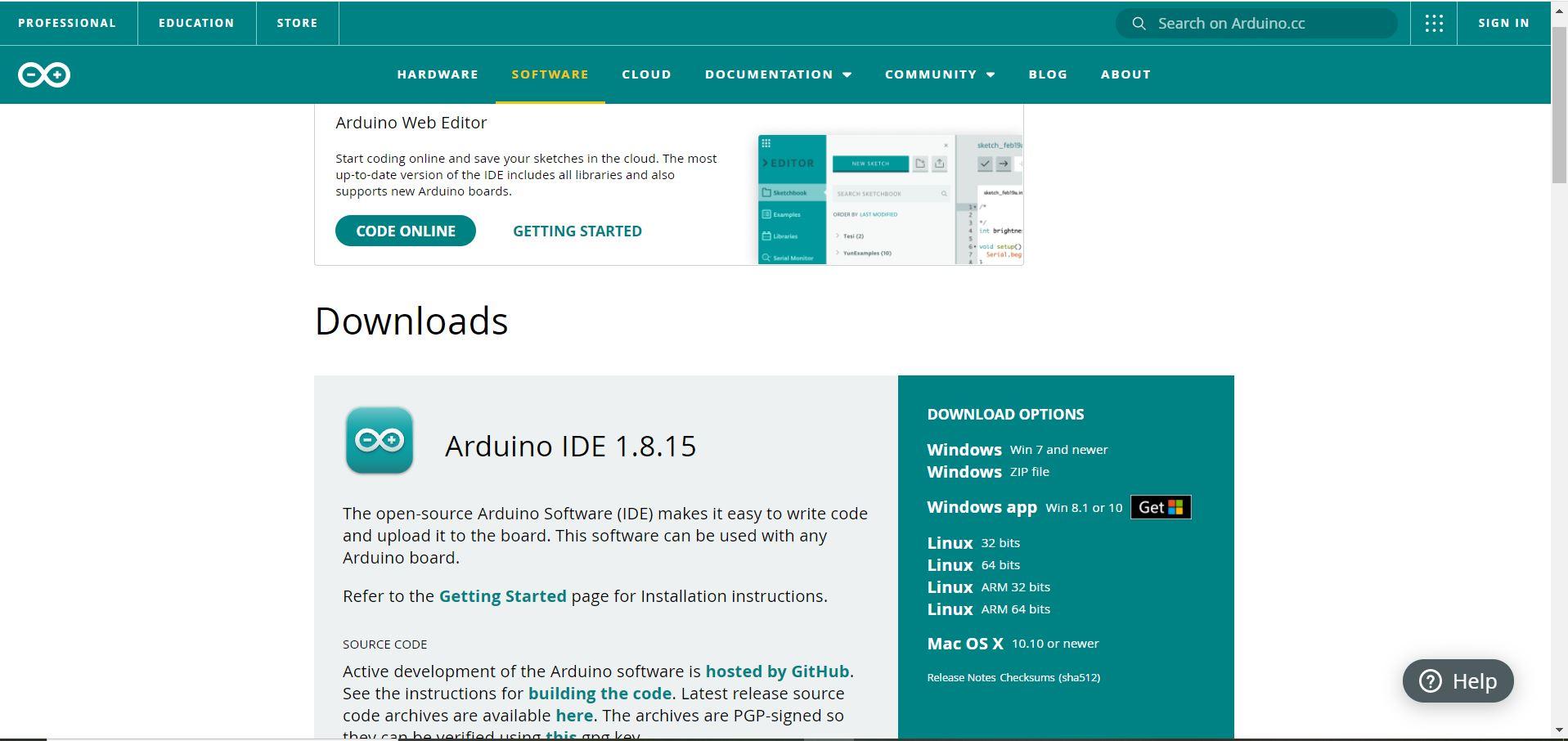 Arduino IDE download page